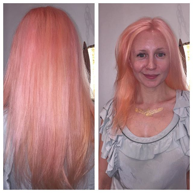 Color by @hairbycarlasnow #coralhair #pravana #pastelpinkhair