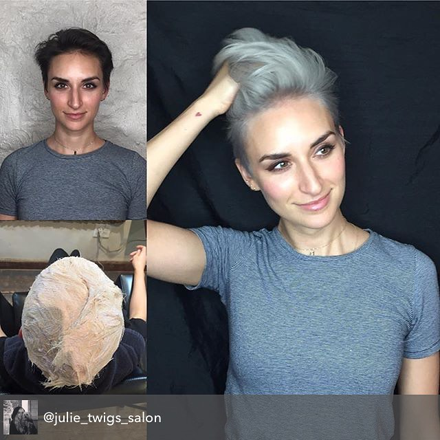 Repost from @julie_twigs_salon using @RepostRegramApp - Transformation Tuesday! Here's the before, during and after shots of Catherine's brunette to silver makeover. I approached this transformation very carefully because I wasn't sure how much her baby fine hair could take in one day. So to preserve the integrity of her hair it ended up taking 3 sessions in a span of 2 weeks using #Artego lovely lights and using  It's Color to tone. Hair was left feeling strong 💪and healthy👍. #twigs #nychairsalon