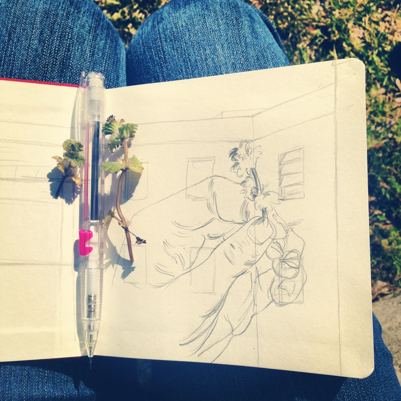 Drawing outside on a nice day