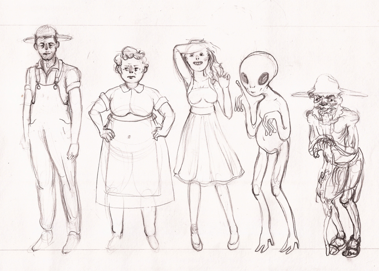 Character sketches for concept drawing class.