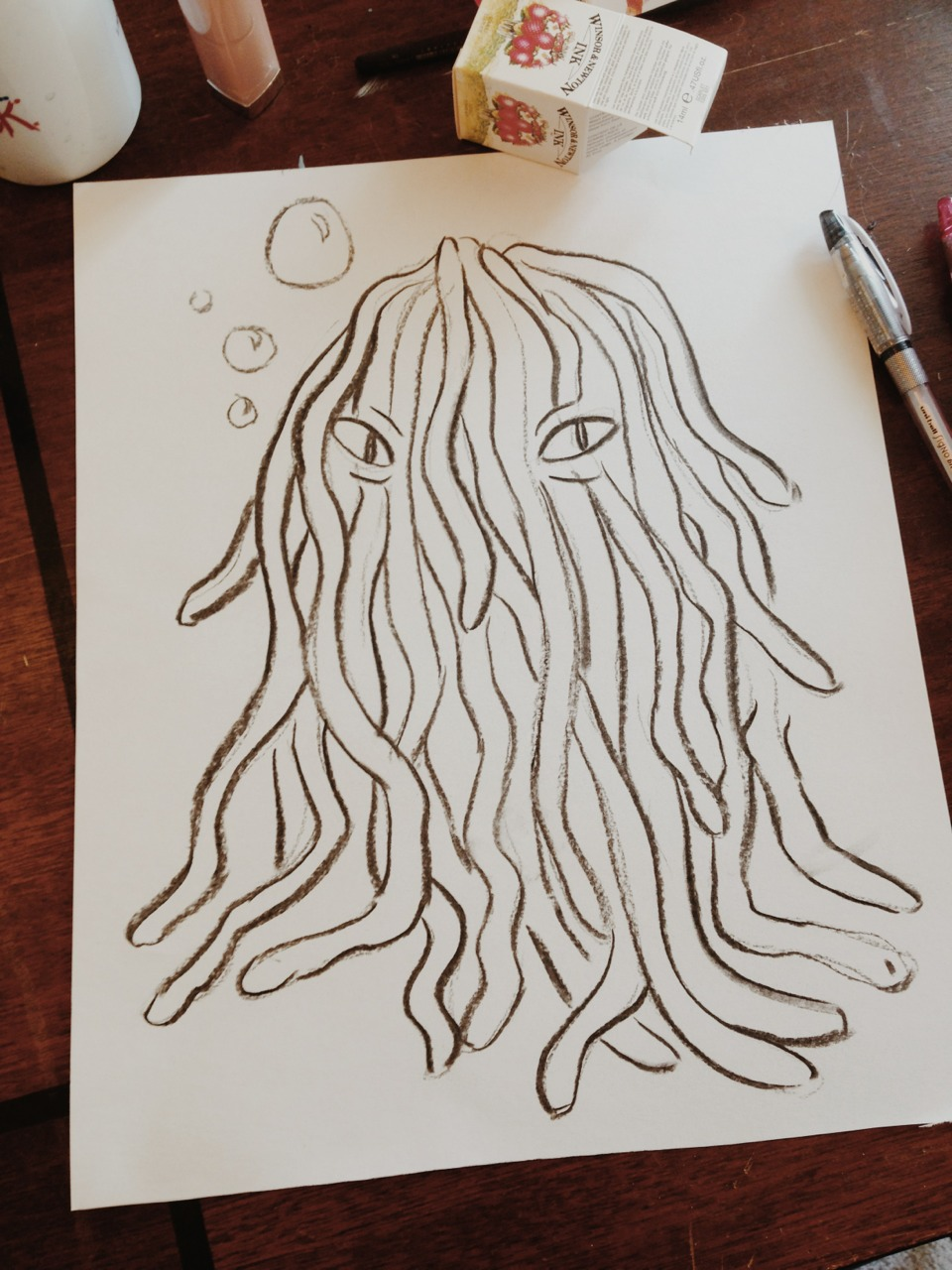 Broke out the vine charcoal… Doodled a spaghetti sea monster thing