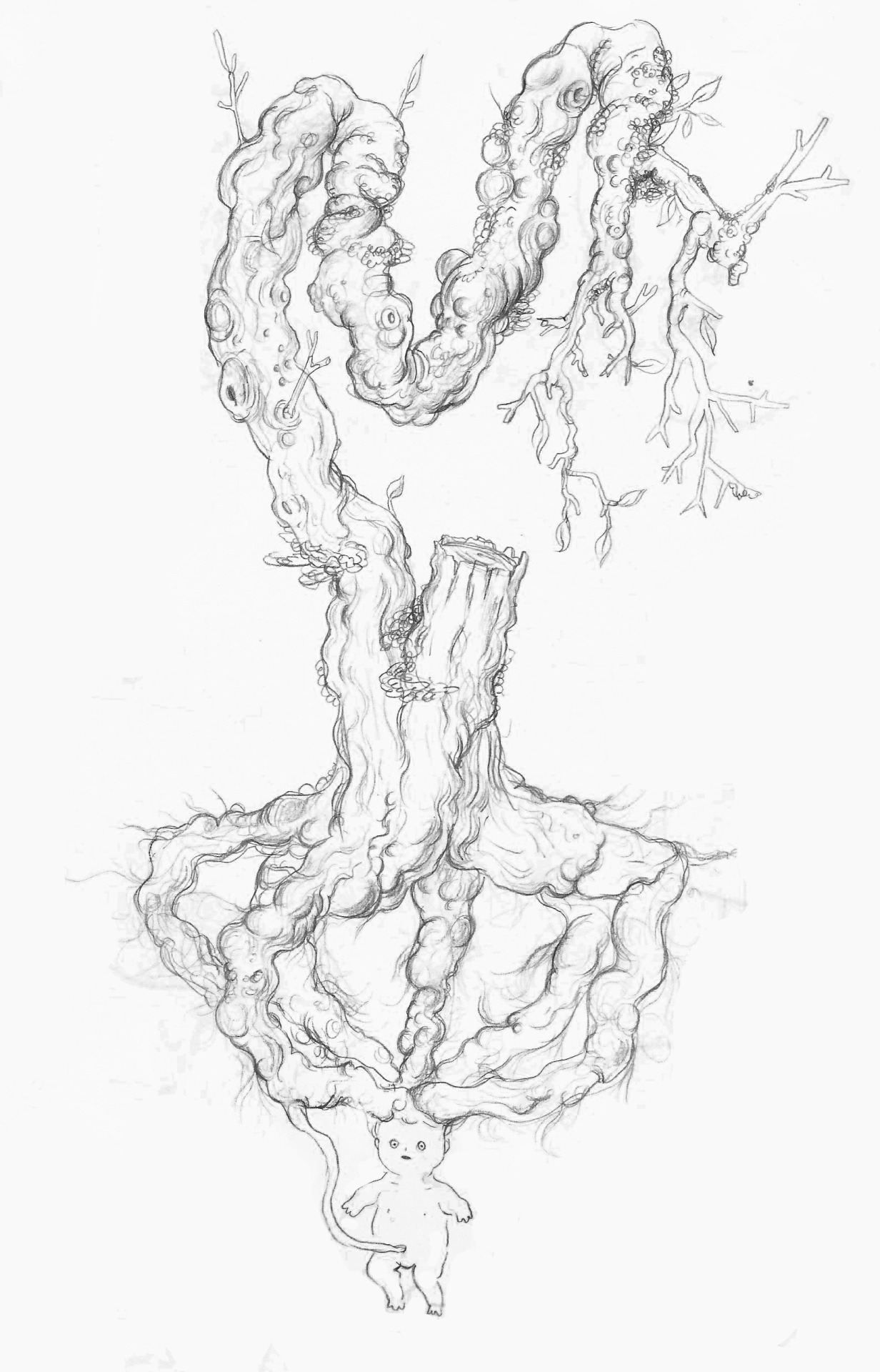 Oh, the things I draw at work D: I guess it's a monster tree controlled by a fetus??? idk it's up to you