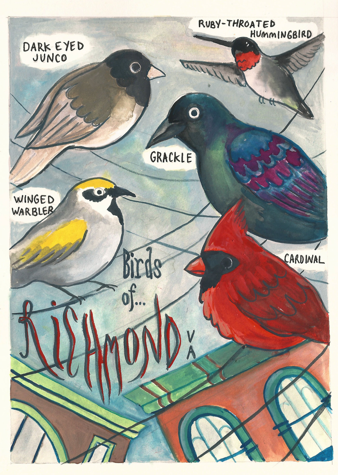 Postcard for Richmond, VA that I made for my Type and Image class.