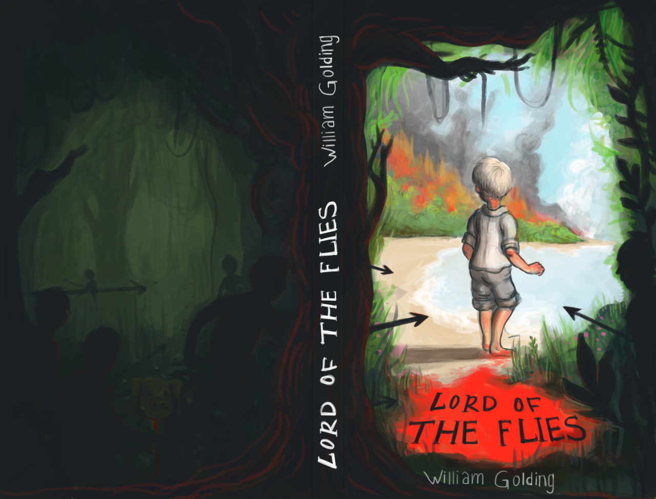 Book cover for Lord of the Flies by author William Golding, for last semester's digital drawing class.