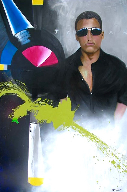 """Becoming Jordan""  acrylic and metal on canvas  60X48"""