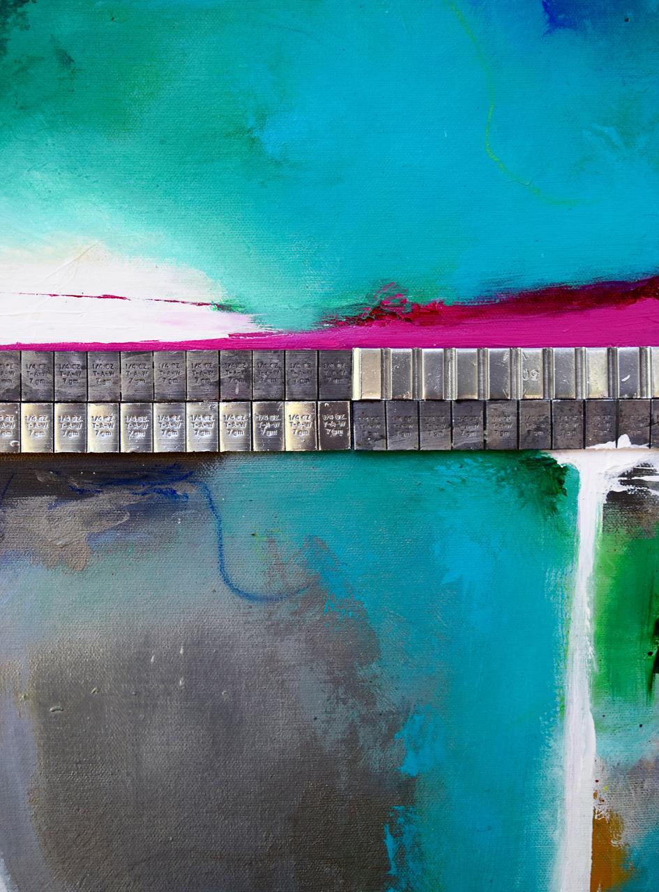"""Bridges of Orange County""  acrylic and metal on canvas  14X11"""