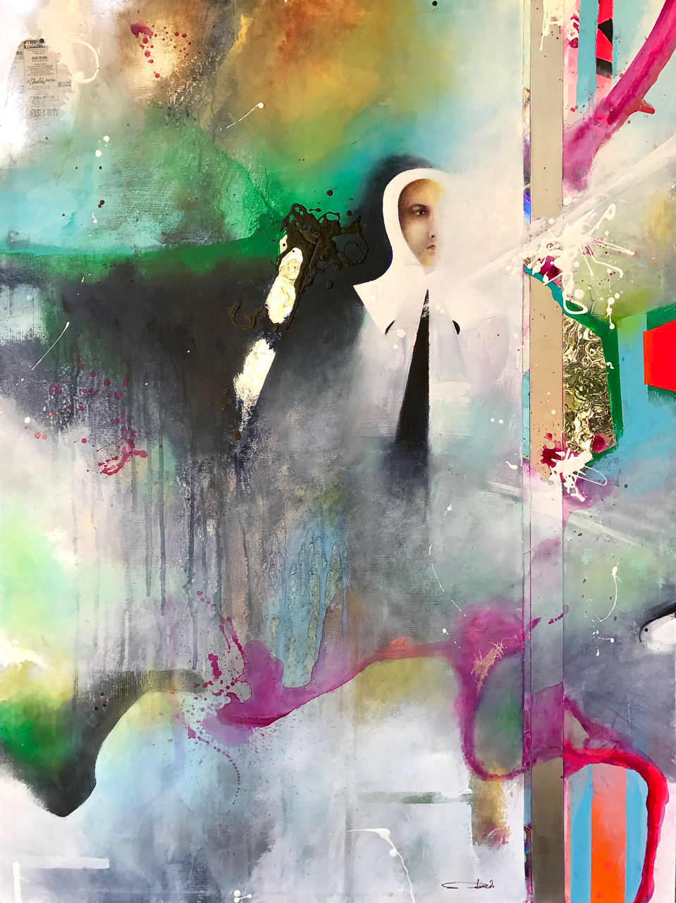 """""""SOUBIROUS I: The Song of Bernadette""""  acrylic, oil, newsprint, metal, polycarbonate and reflective mylar on canvas  40"""" X 30"""""""