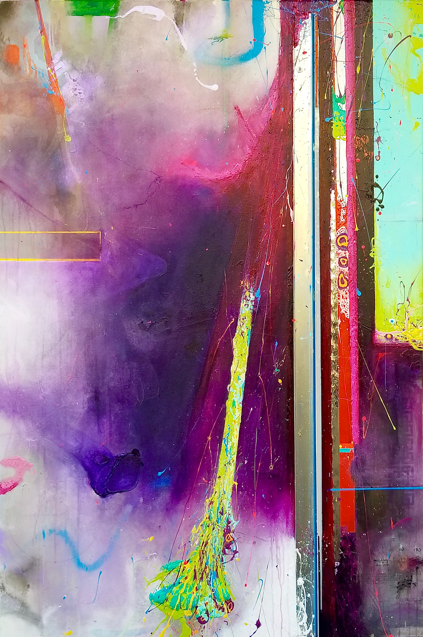 """""""Vimutti""""  acrylic, metal, reflective mylar, micro prismatic high intensity reflective tape, plexiglass, LED lighting with 44 multi-color key remote, and canvas on wood panel  72"""" X 48"""""""