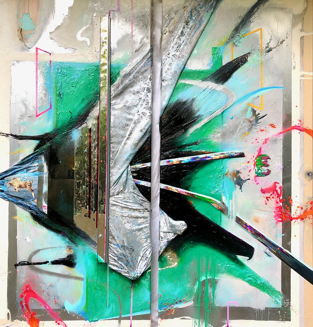"""Lex Aeterna""  acrylic, spray paint, metal, x-ray film, photo, fabric, polycarbonate, reflective mylar, plexiglass, LED lighting with 44 multi-color key remote on wood panel  78"" X 72"" Diptych"