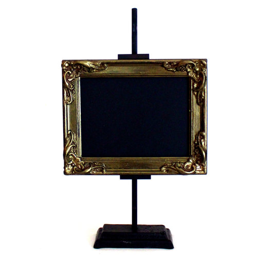 SMALL GOLD TABLE-TOP FRAME W/STAND — Bird & Bee Vintage Rental Co.
