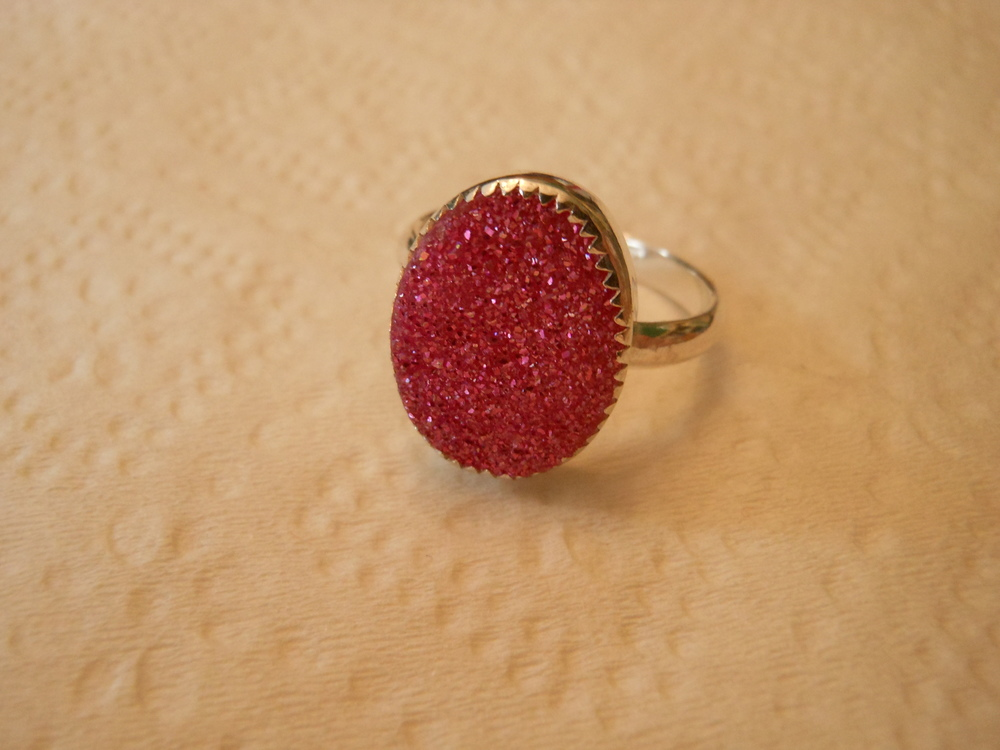 Pink Drusy in sterling and fine silver $60