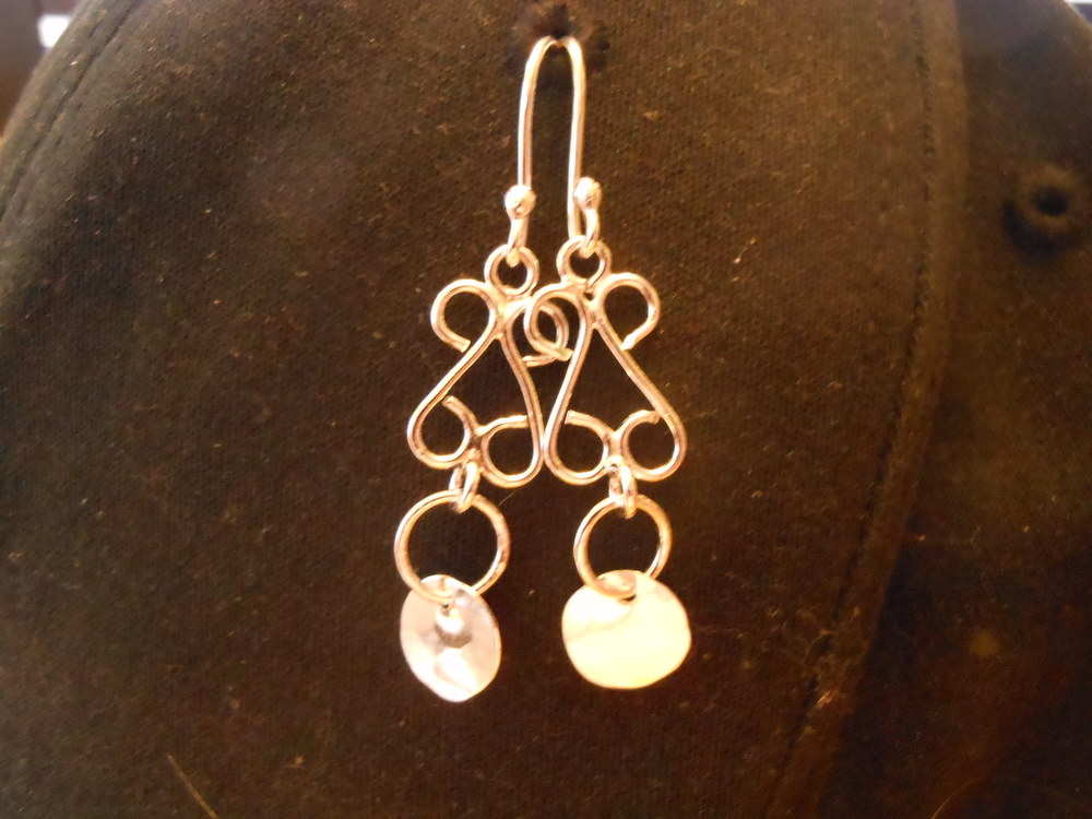 Fine Silver earrings with fine silver coin accents $100