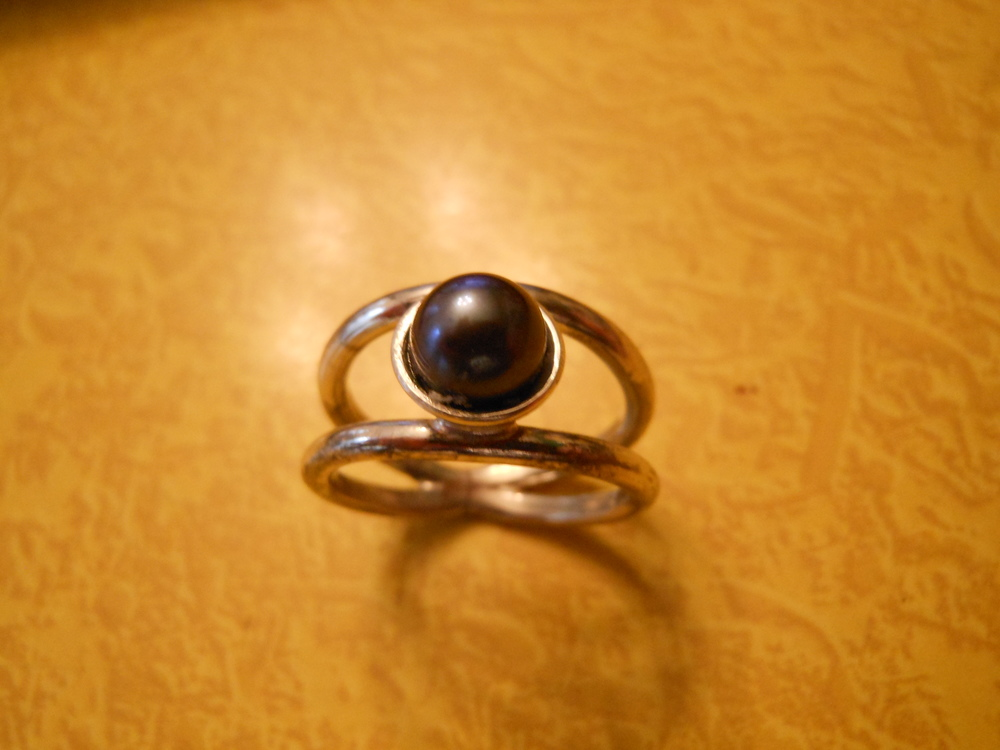 Black Pearl Sterling Silver Ring $75