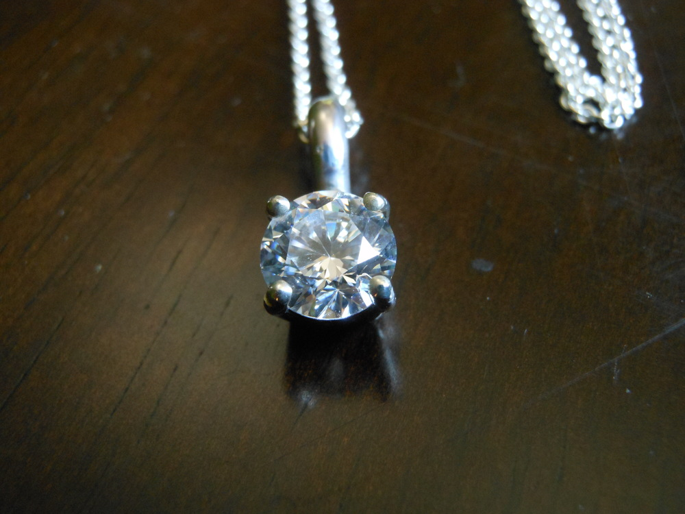 CZ Pendant 8mm in Sterling Silver $125