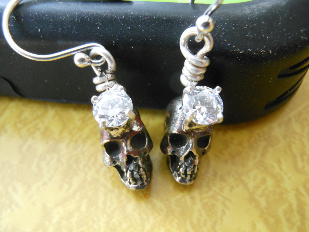 Crown Skulls CZ French Wires $75