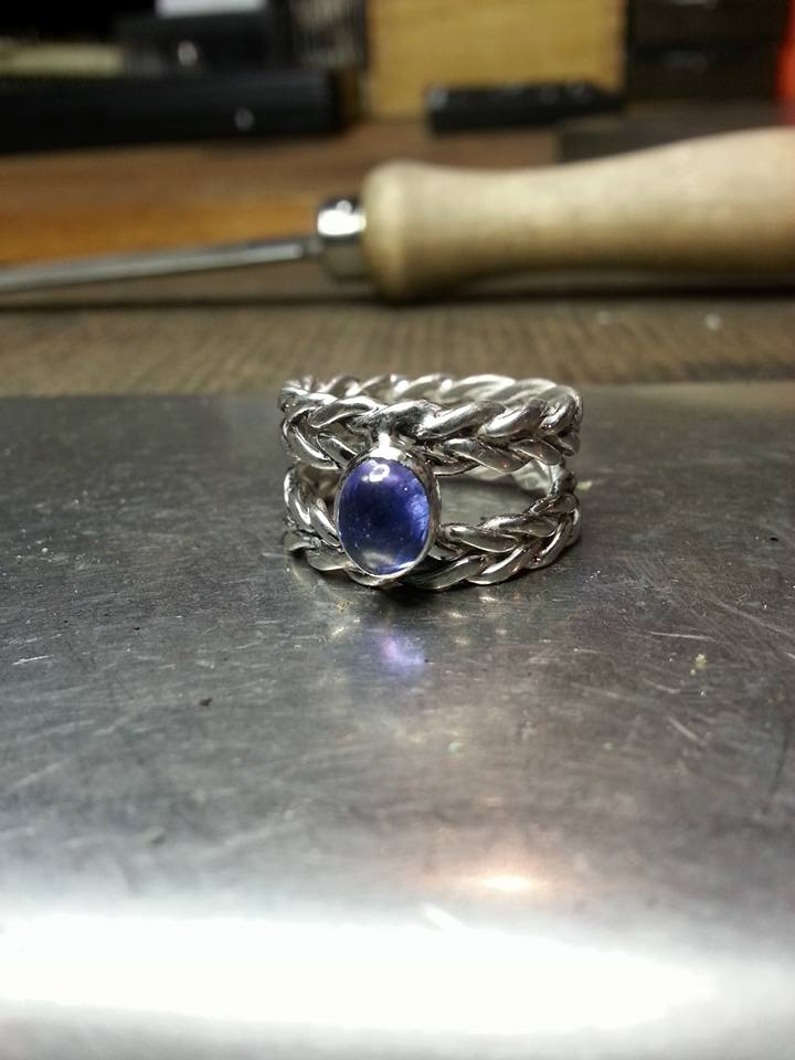 Tanzanite Double Shank Wheat Ring Sterling SIlver $180