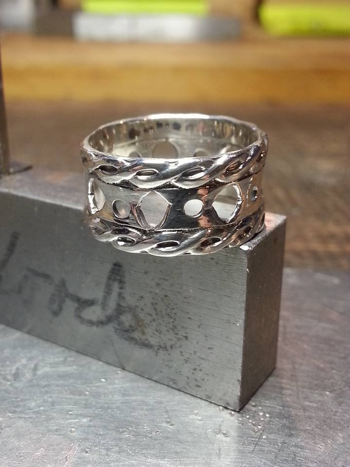 Sterling Silver Chain Twist Ring $125
