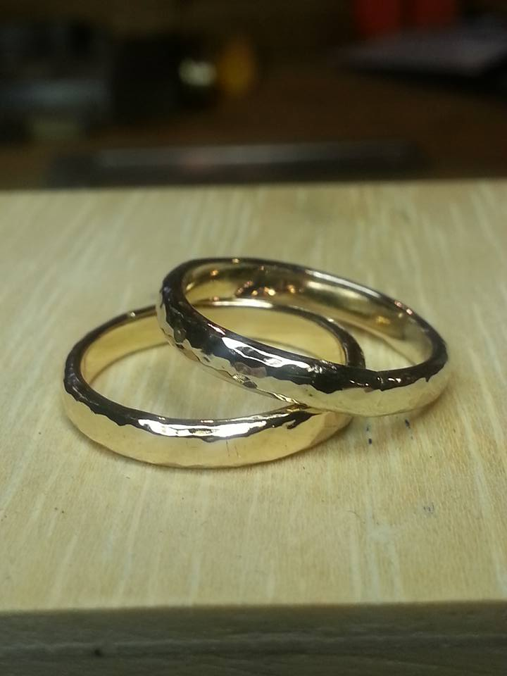 Wedding Bands White and Yellow 14k gold