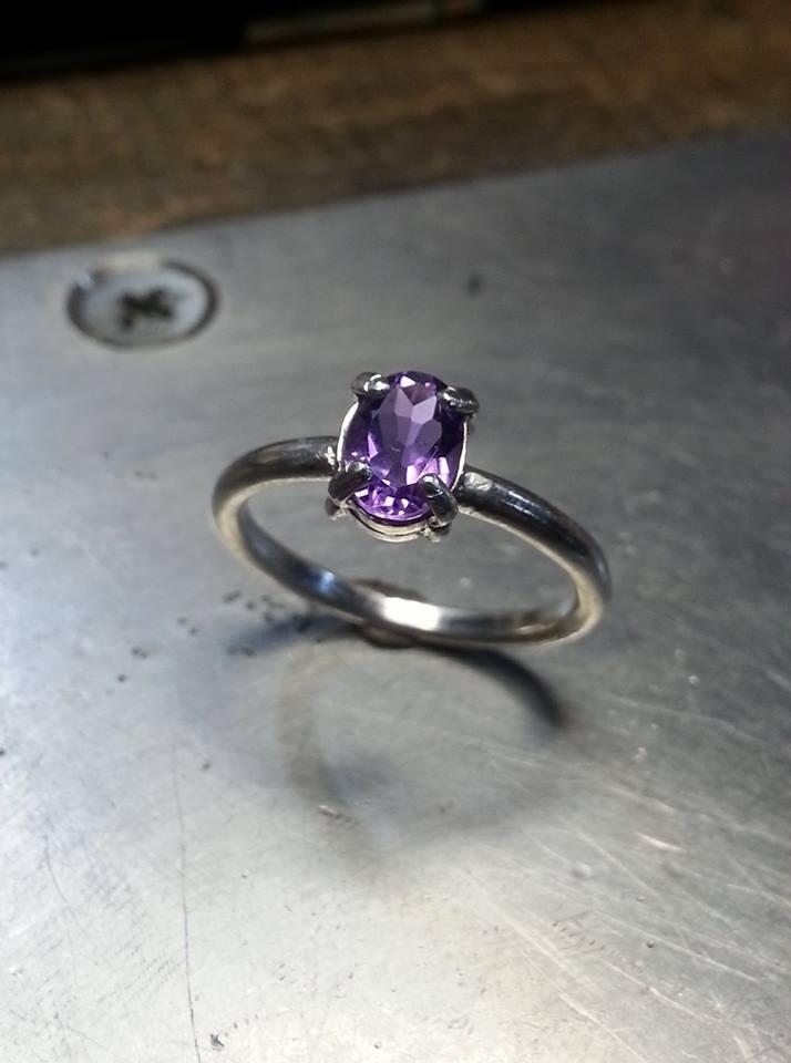 Amethyst Symplicity Ring Sterling Silver $150