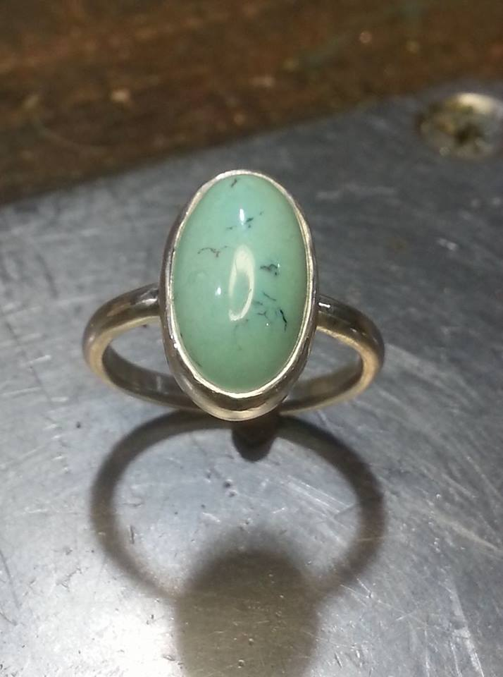 Pale Turq Fine Silver and Sterling $200 size 8
