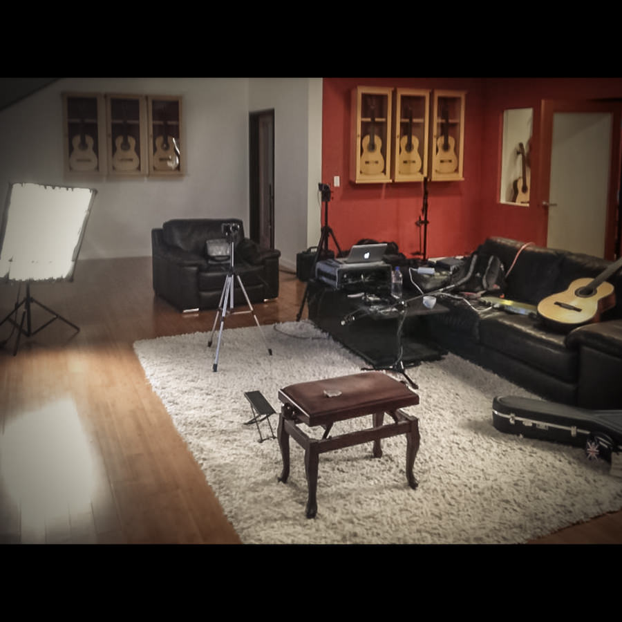 On set at the Guitar Salon International Showroom. Santa Monica, CA