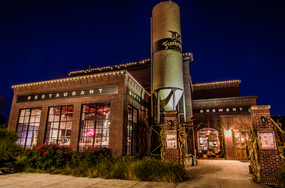Frankenmuth Brewery at night