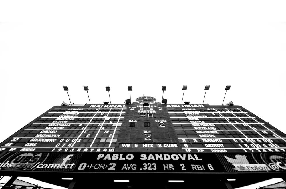 Wrigley field scoreboard Chicago