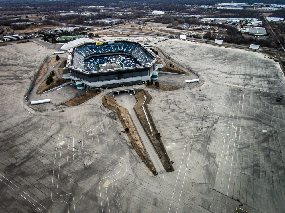 Pontiac Silverdome and parking lot