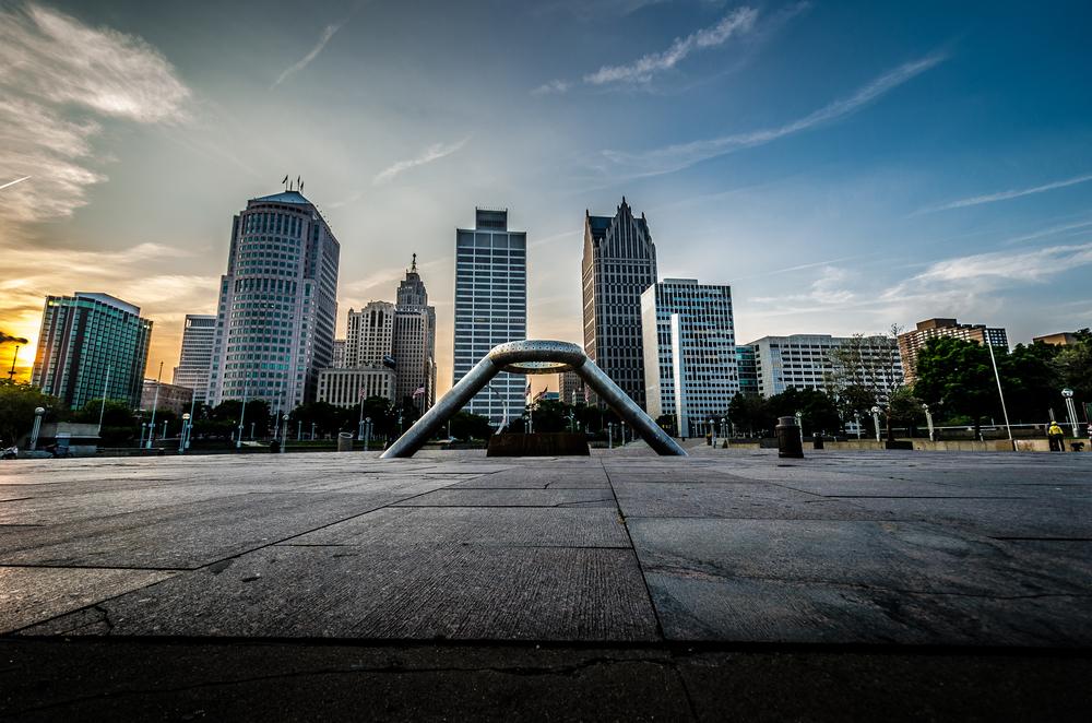 Hart Plaza Detroit Skyline