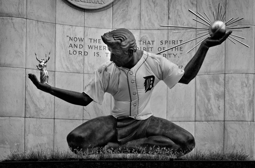 Spirit of Detroit Tigers B and W