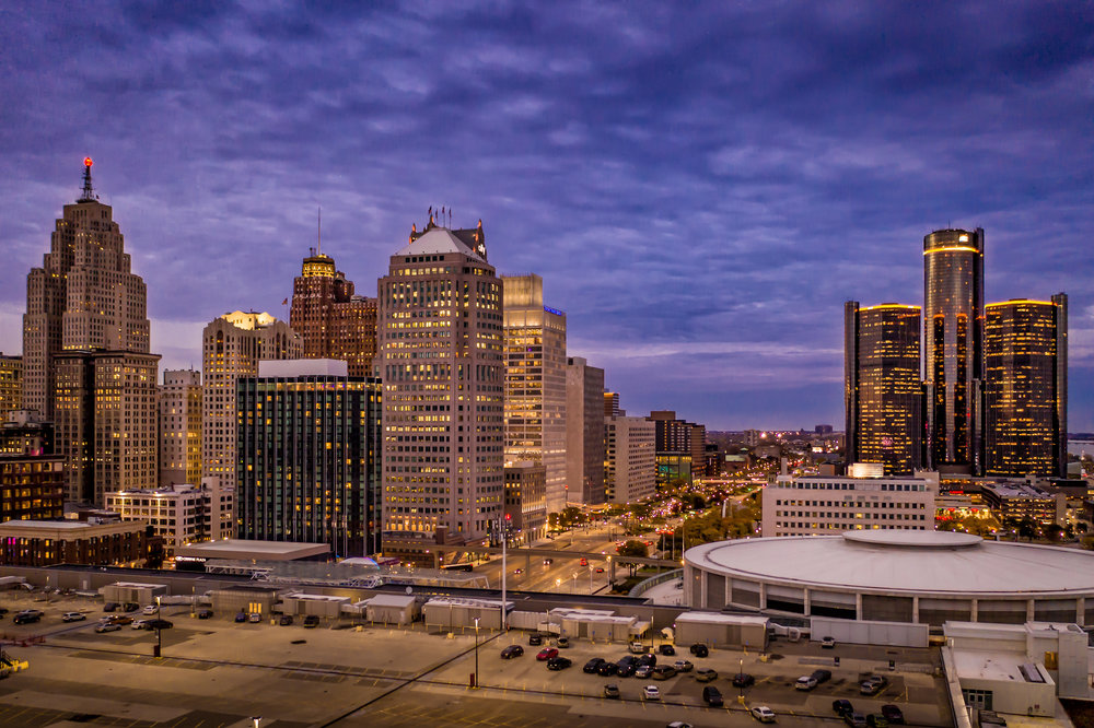 Detroit drone skyline