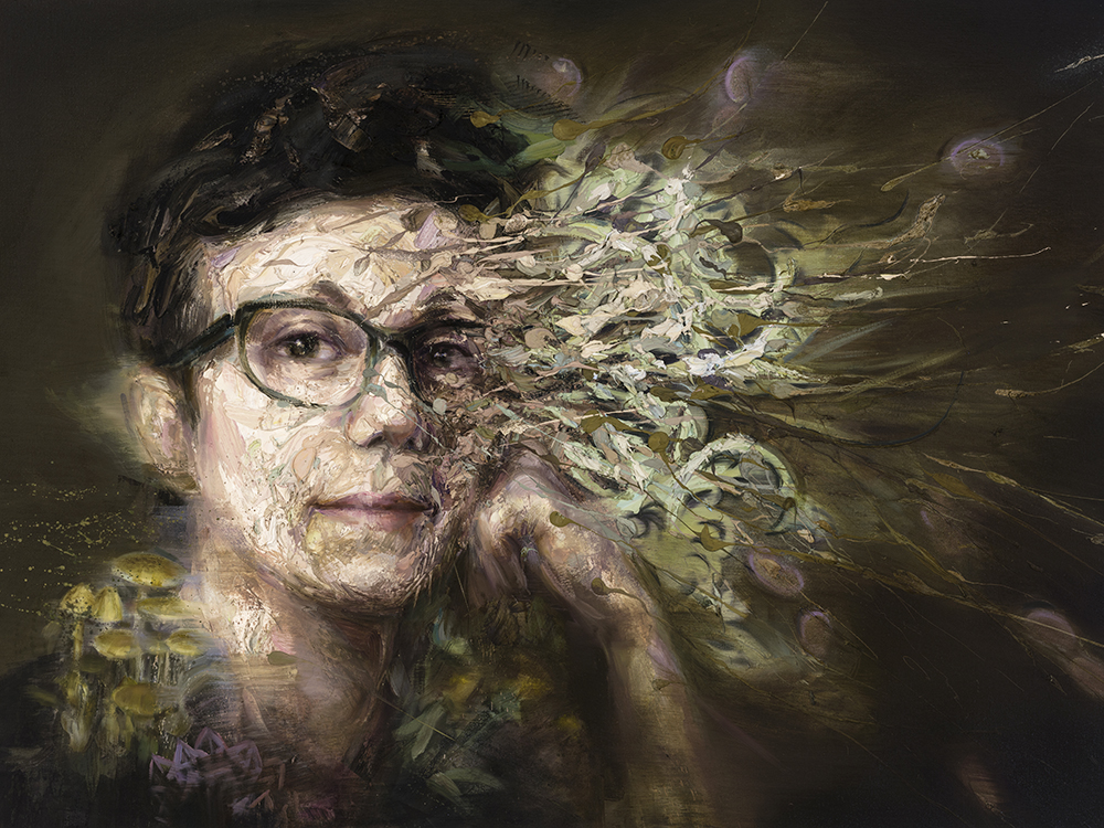 """More-than-Human Sanita Fejzić"" by Mathieu Laca, oil on linen, 92 x 122 cm, 2018, featuring the writer enmeshed with fungi and crystals."