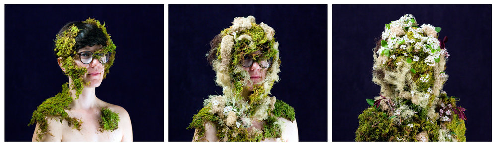 """Mossification"" by  Nicole Crozier . A portrait of lichen, moss and Sanita Fejzić."