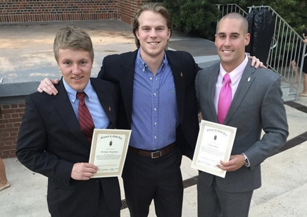 Chris Merganthaler '12, Chief Justice of the Honor Court; Lucas Ryan '12, Chief Justice, Greek Conduct Board; Clark Rahman '12, IFC President and 2016 Runner-Up Homecoming Chief. Five of the last 13 FSU Student Body Presidents are Delta Lambda alumni.