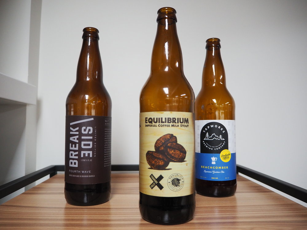 Top 3 - 1. Equilibrium Imperial Coffee Milk Stout2. Beachcomber Espresso Golden Ale3. Fourth Wave Coffee Beer Aged in Bourbon Barrels