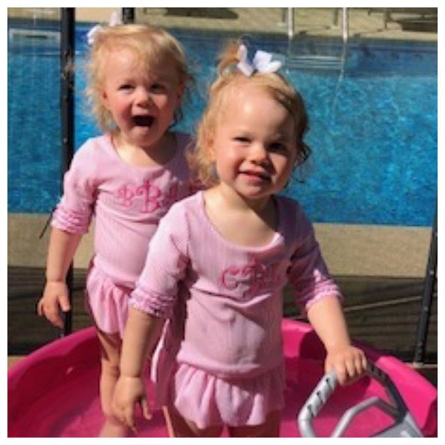 What's cuter than seersucker monogrammed swimsuits?? TWINS wearing them! #darnellsfunstuff #mudpiebaby #shoplocal #cutesttwins #momogrammedswimsuits