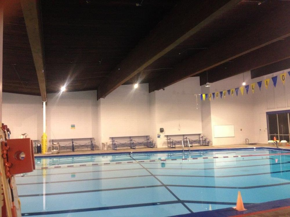 Pool AFTER - LED lights, reduced wattage and fewer fixtures - MORE LIGHT