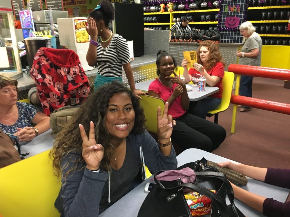 Shanelle and others at Mesa Skateland. (Anne is hiding in the back.)