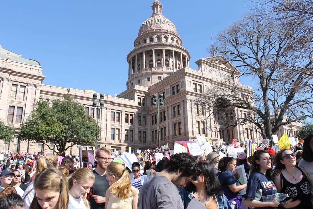 Protesters Gathering at Texas State Capitol for the Women's March on Austin, Texas.
