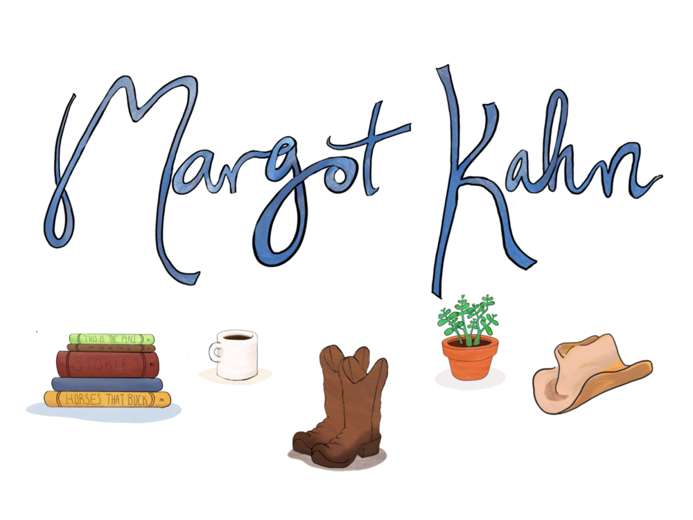 Hand-drawn logo and illustrations for author Margot Kahn's website