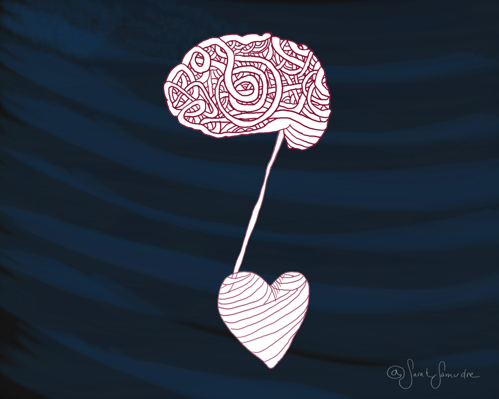 """Head / Heart Connection"" - illustrated for an essay on Alzheimer's."
