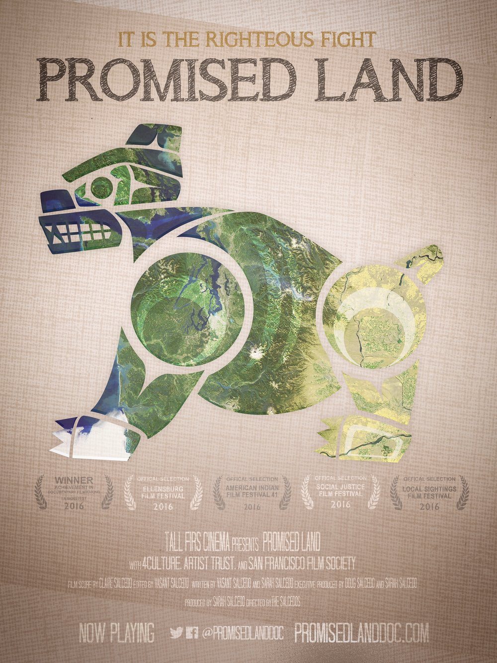 Poster design for Tall Firs Cinema's feature documentary,   Promised Land