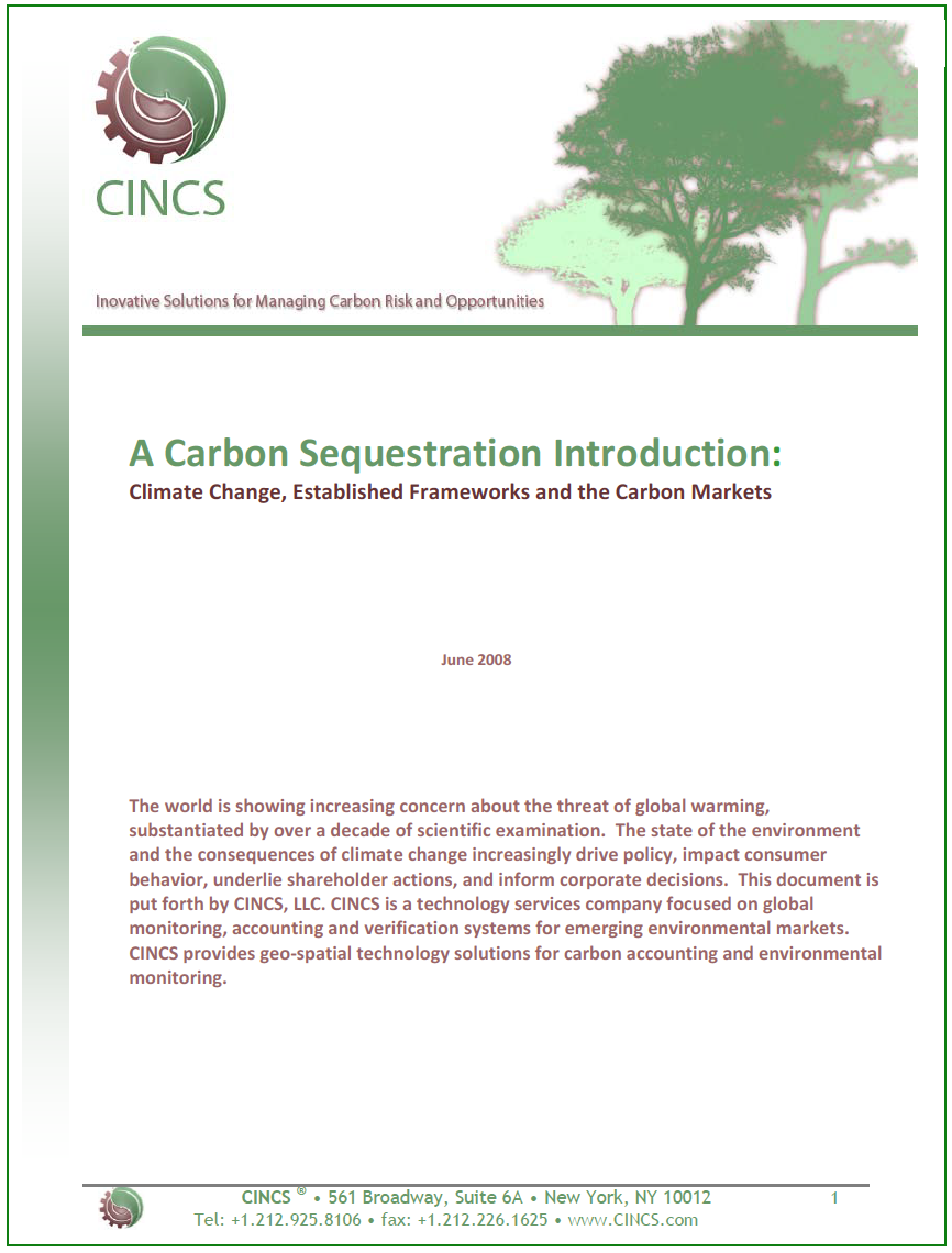 A Carbon Sequestration Introduction: Climate Change, Established Frameworks and the Carbon Markets (June 2008)