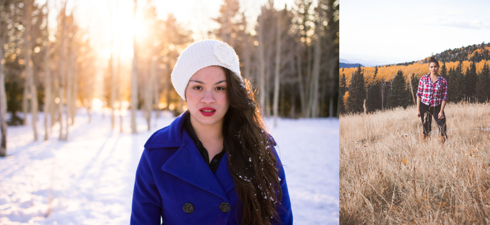 Dressing for the season is important. As you can see, the contast between the two images are stark. The location is the same, but they are a season apart. The photo from the winter has blue hues and a layered wardrobe, while the photo from autumn is much warmer in color and clothing.