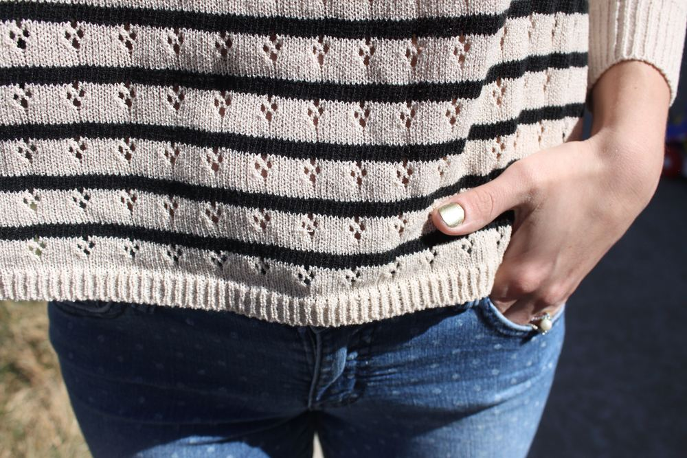 Sweater + Polka Dot Jeans | A Dash of Salter