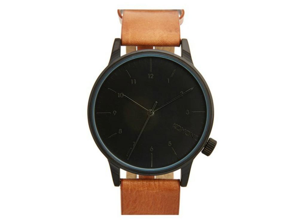 Komono 'Winston' Round Dial Leather Strap Watch, 40mm