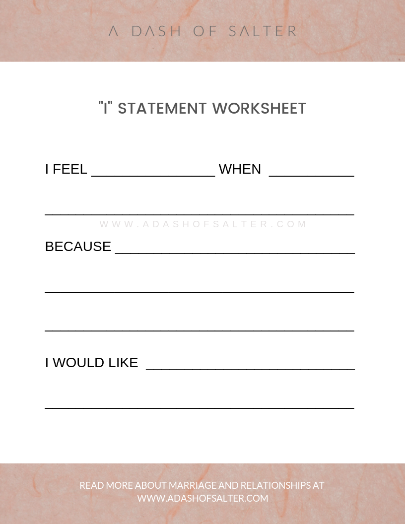 I statement Worksheet - Positive communication in Marriage and Relationships