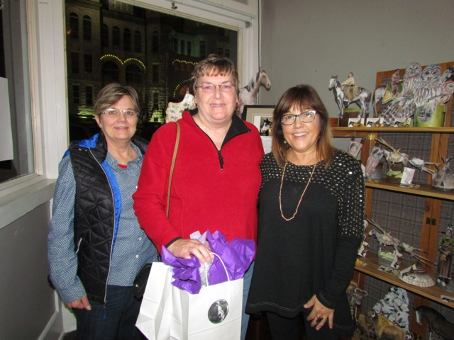 Joyce (On the right) with two of her MN friends at the opening of her show at the Antiquarium in Carthage Mo