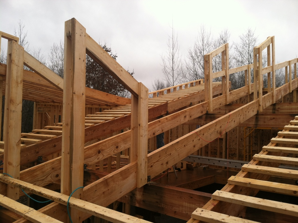 Framing part 3 center roof stone tent architecture for Clerestory roof truss design