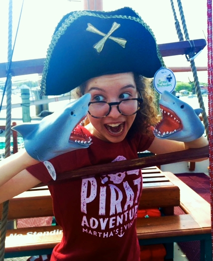 GUPPY Aka Young Gup, aka Gup, aka Young Gup Finch, this zany and hysterical pirate was a new addition to the summer 2016 crew. One day while hauling up the treasure chest from the bottom of the sea, instead of being face-to-face with our bounty, we were looking into the big eyes of this curly-headed pirate at the end of our line. And boy, are we glad we did. Young Gup, although demure in stature, has proved a fierce asset to our crew. Guppy will be a freshman this fall at Mount Holyoke College.